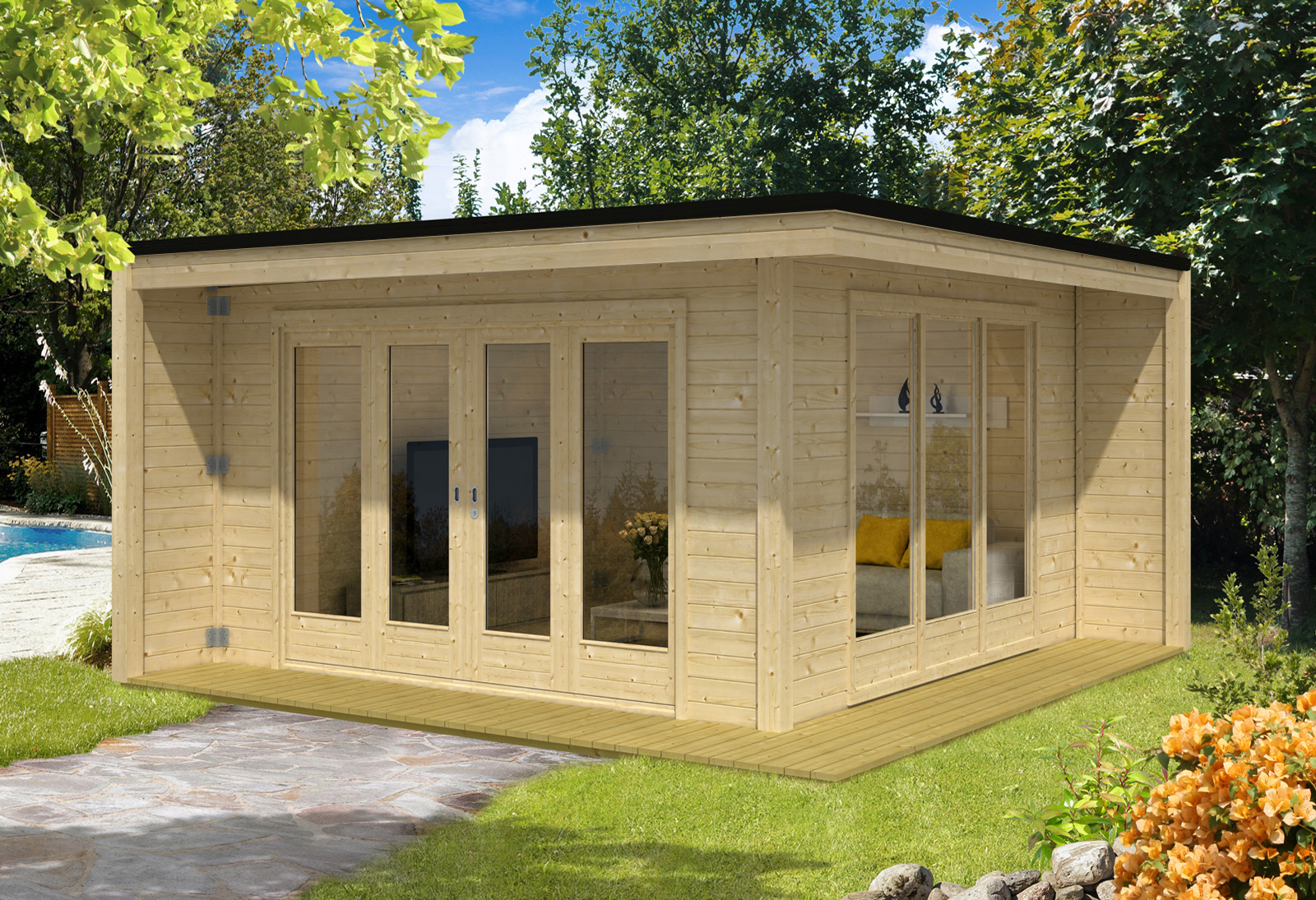 Design gartenhaus cubus capri40 for Design gartenhauser