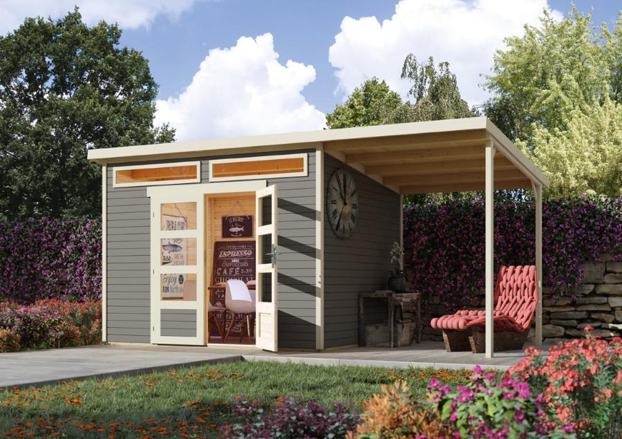 wolff flachdach gartenhaus venlo c mit schleppdach. Black Bedroom Furniture Sets. Home Design Ideas