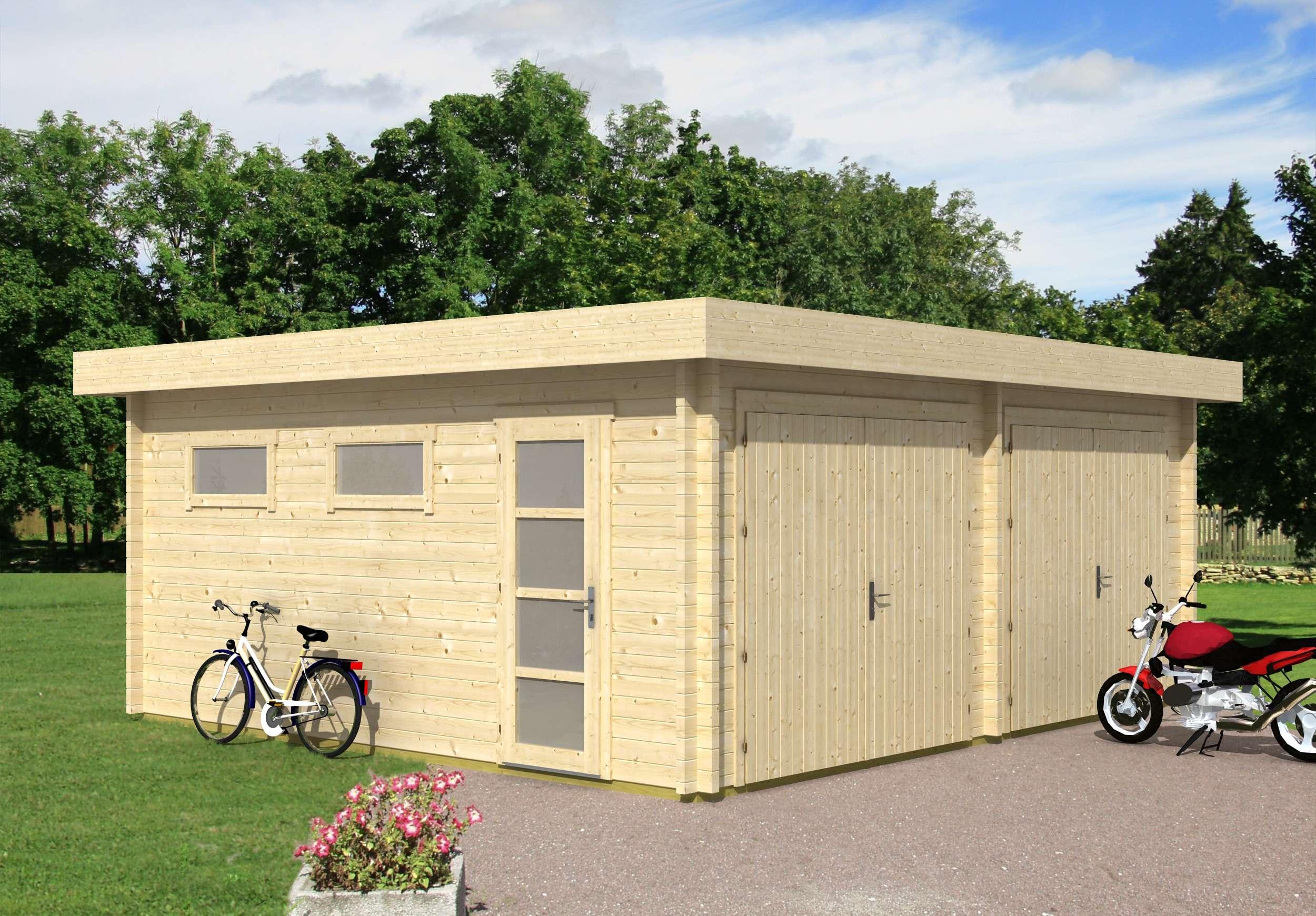 Haus mit doppelgarage flachdach  Fertiggaragen aus Holz kaufen: Holzfertiggaragen bis zu -20%