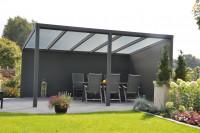 Feste Wand, Höhe 197 cm, bestehend aus 13 Aluminium Planken 350 cm
