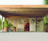 Karibu Front mit Doppelflügeltür für Doppelcarport