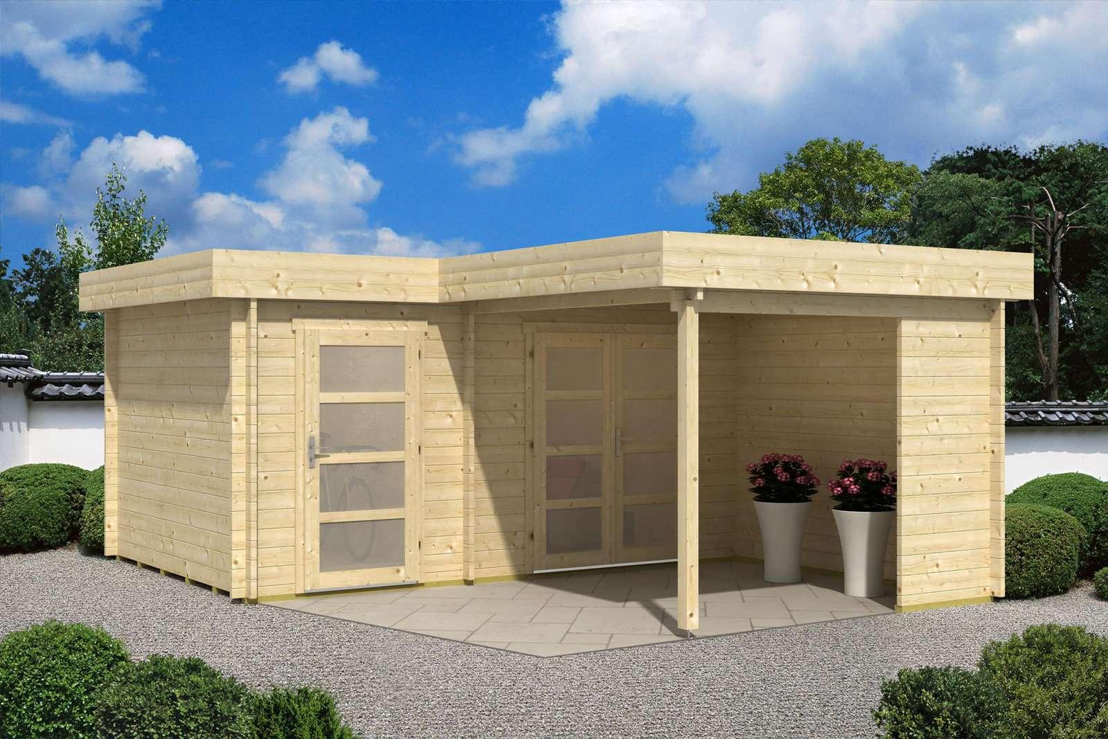Gartenhaus Mit Unterstand gartenhaus mit flachdach günstig kaufen 0 versandkosten