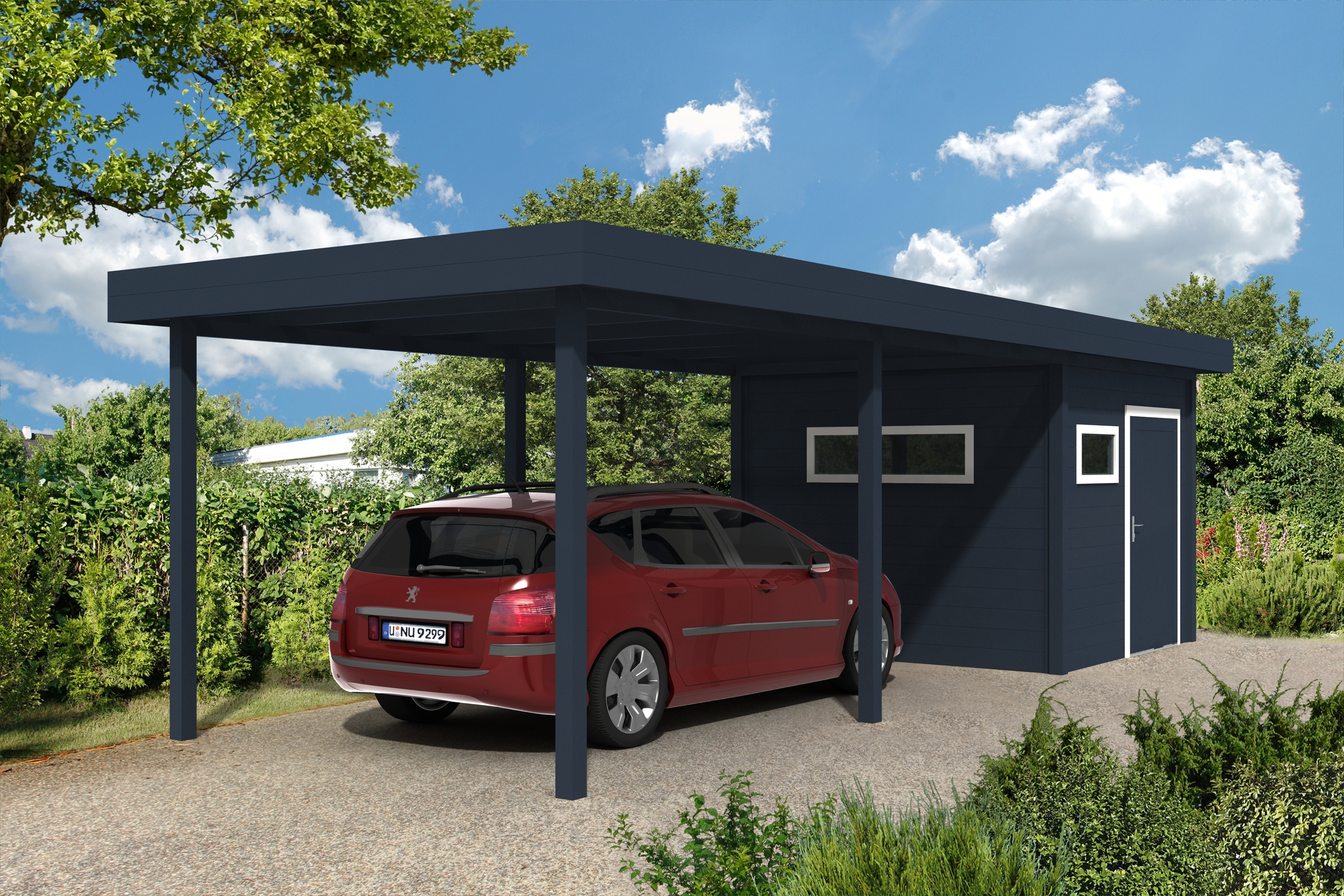 carport mit flachdach klassische flachdach carports bis. Black Bedroom Furniture Sets. Home Design Ideas