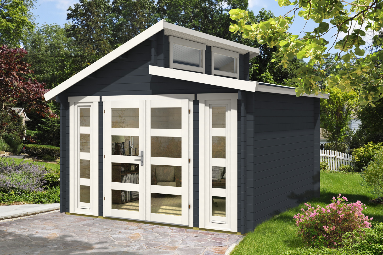 Doppel pultdach gartenhaus modell vinea 40 for Gartenhauser mit pultdach