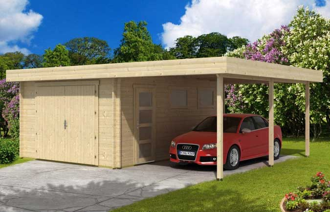 die holzgarage mit carport gartenhaus gmbh. Black Bedroom Furniture Sets. Home Design Ideas