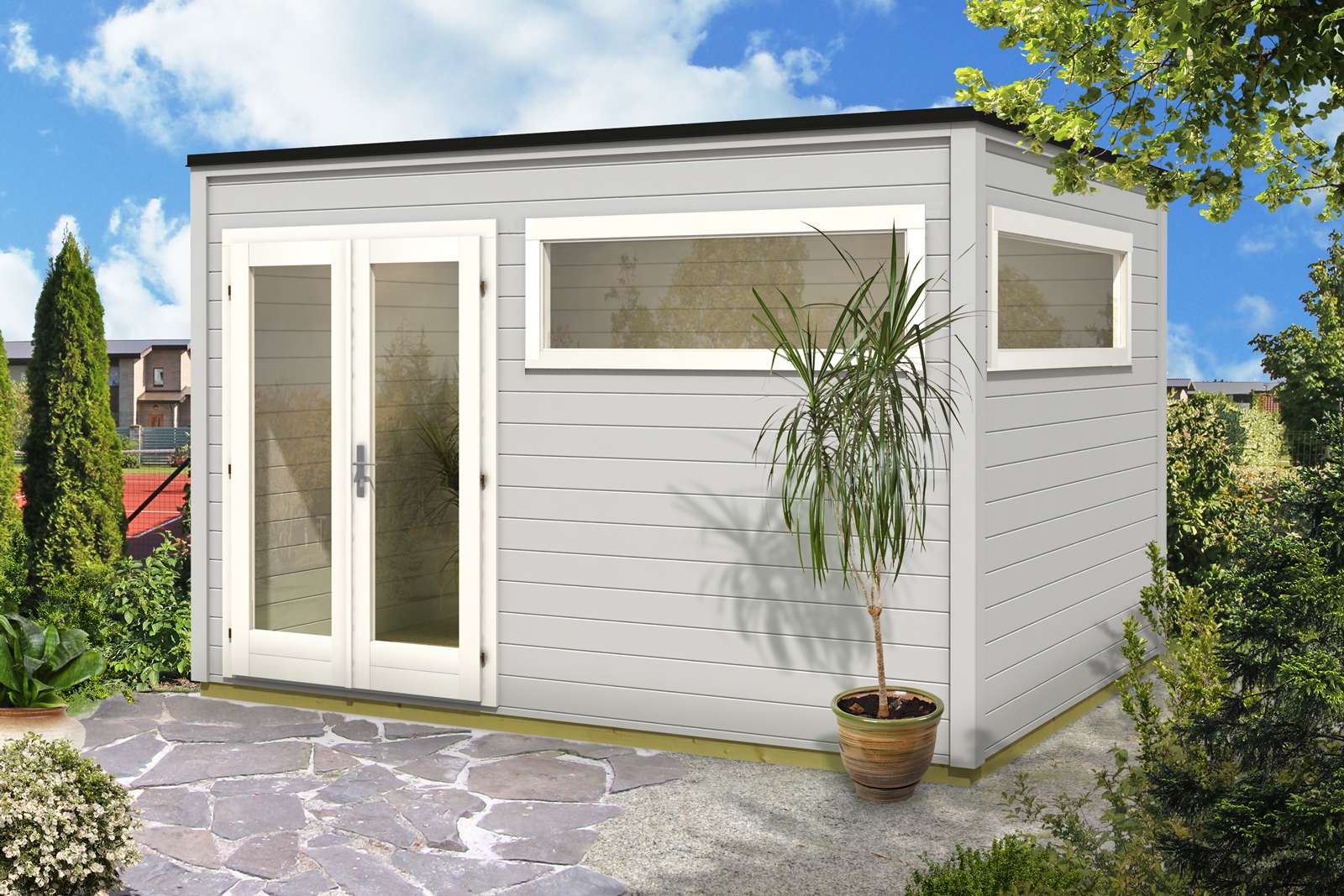 Design Gartenhaus Cubus Wave 44 ISO