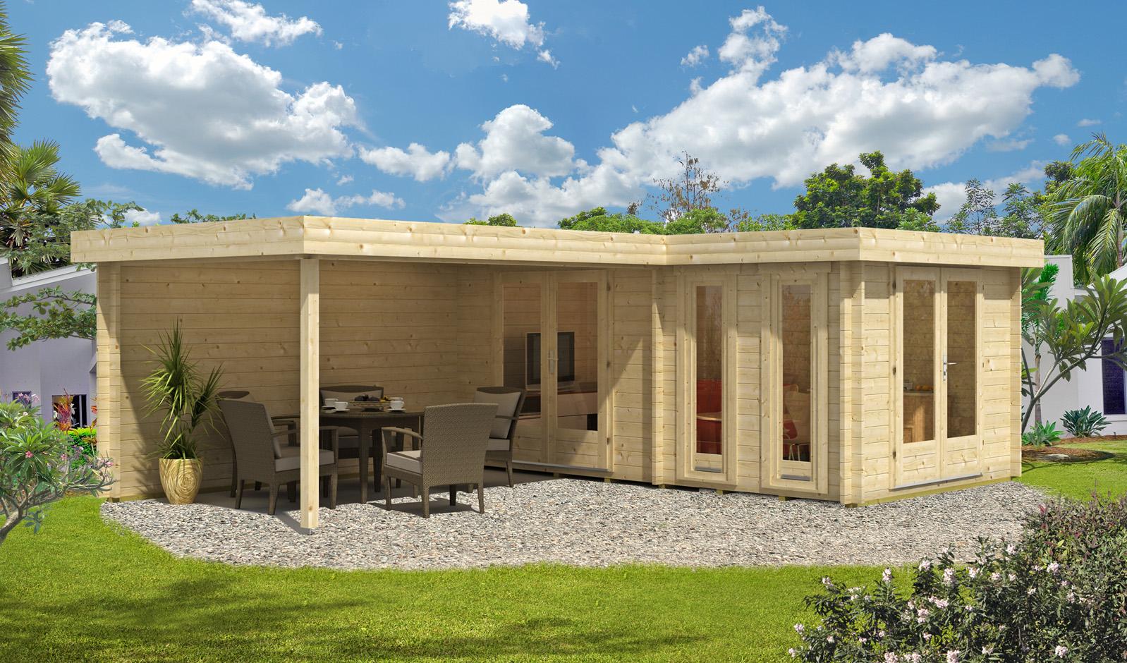 flachdach gartenhaus modell quinta 44 iso. Black Bedroom Furniture Sets. Home Design Ideas