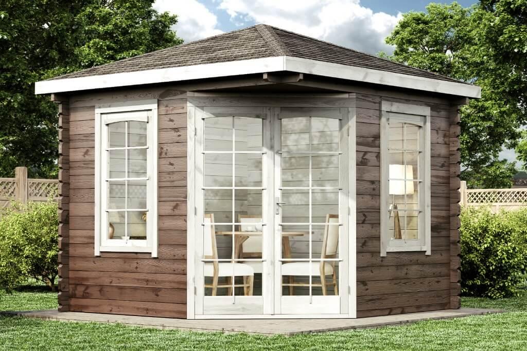 Details zu 5-Eck Gartenhaus Victor-B 44 Holz 44 mm 300x300 cm Spitzdach  Gerätehaus Schuppen