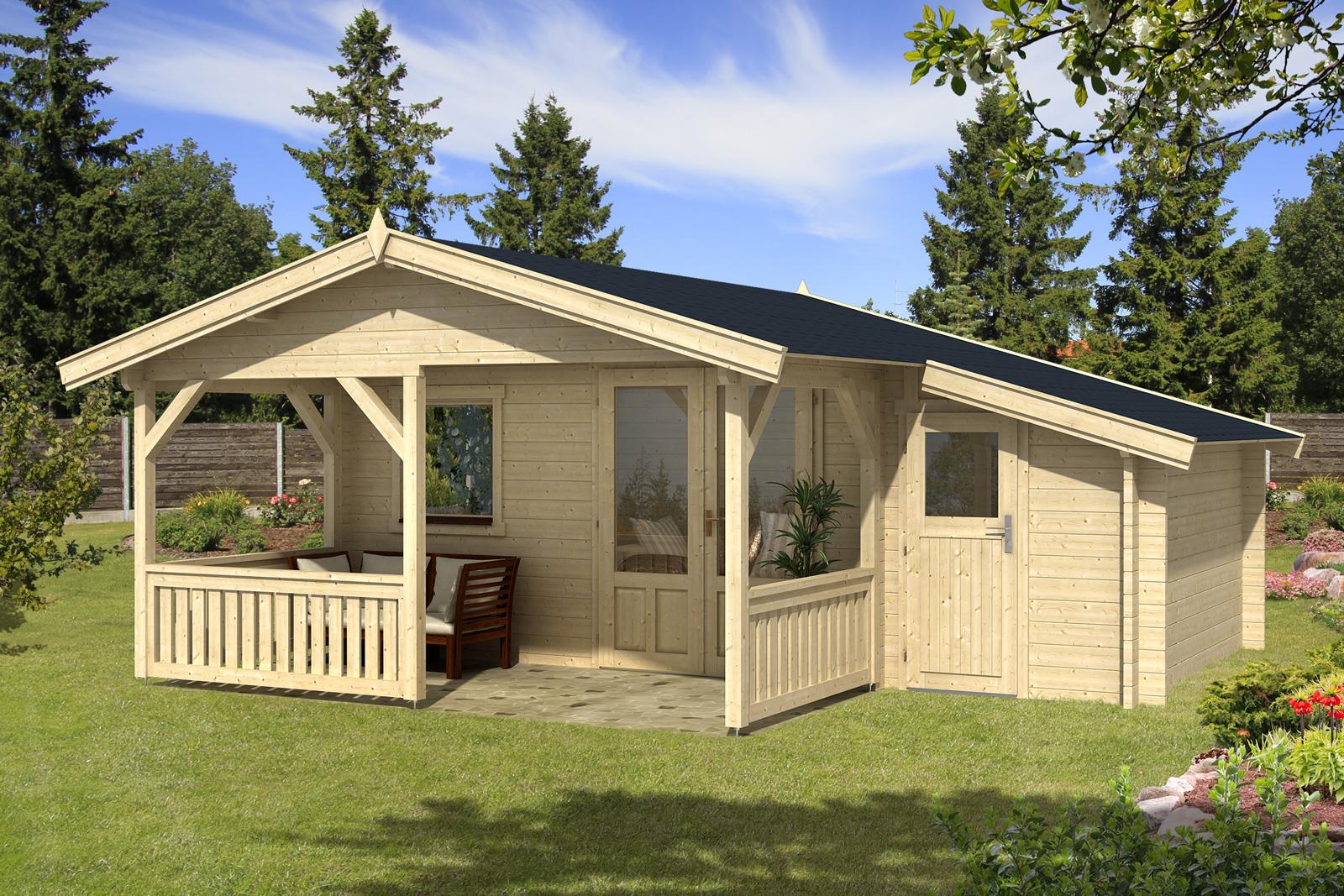 Gartenhaus flex 50 a mit 200cm terrasse anbau 4x3 2z - Gartenhauser mit terrasse ...