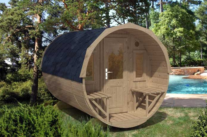 Eine Fass Sauna Aus Thermoholz ökologisch Und Langlebig