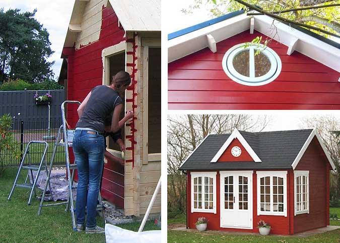 Dunkle Wandfarbe überstreichen gartenhaus streichen schutz pflege durch farbbehandlung