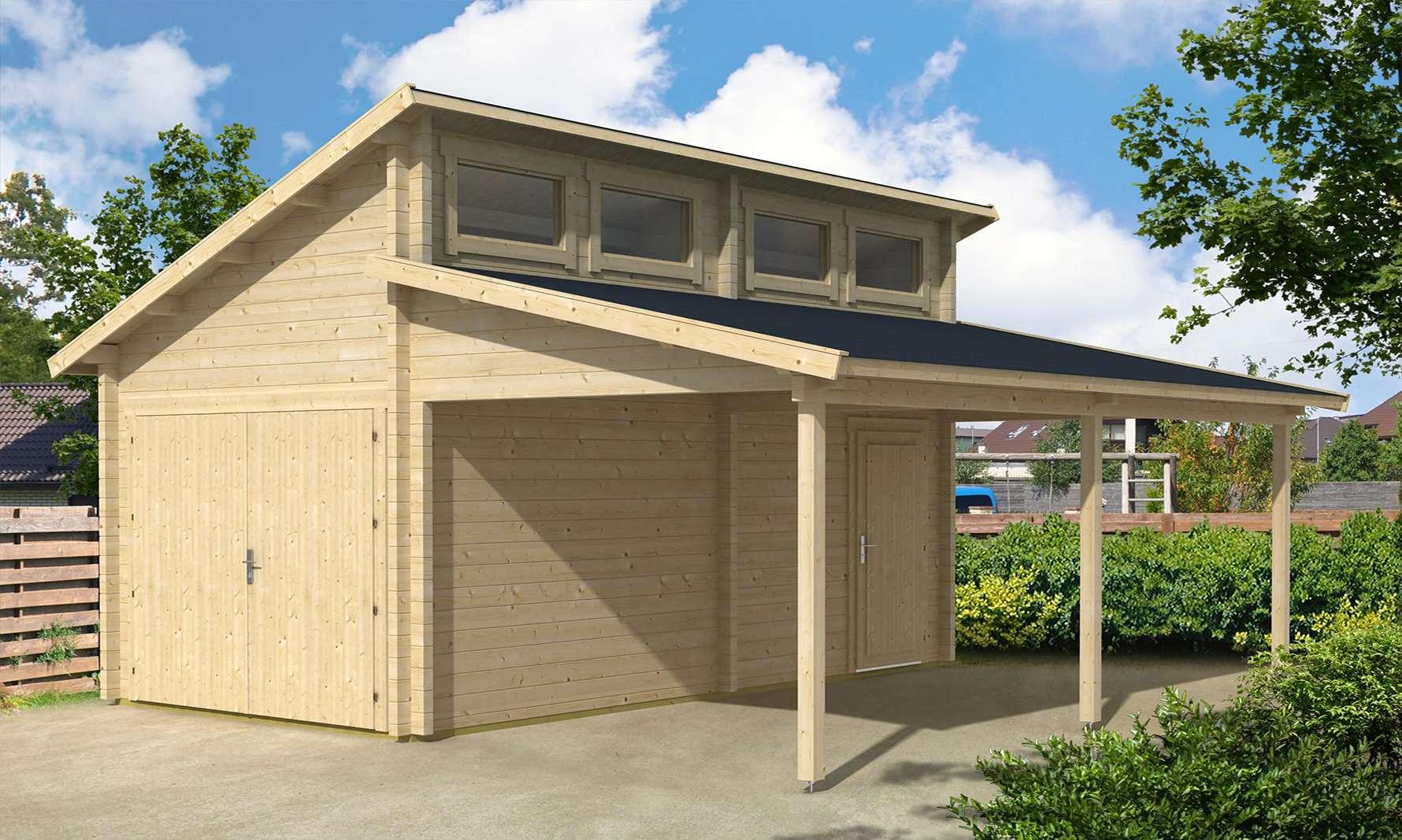 Garage mit carport satteldach  Die Holzgarage mit Carport