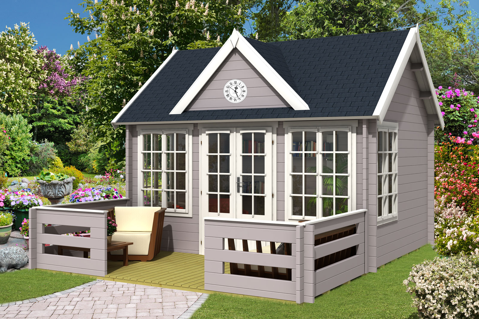 gartenhaus clockhouse 44 royal mit terrasse. Black Bedroom Furniture Sets. Home Design Ideas