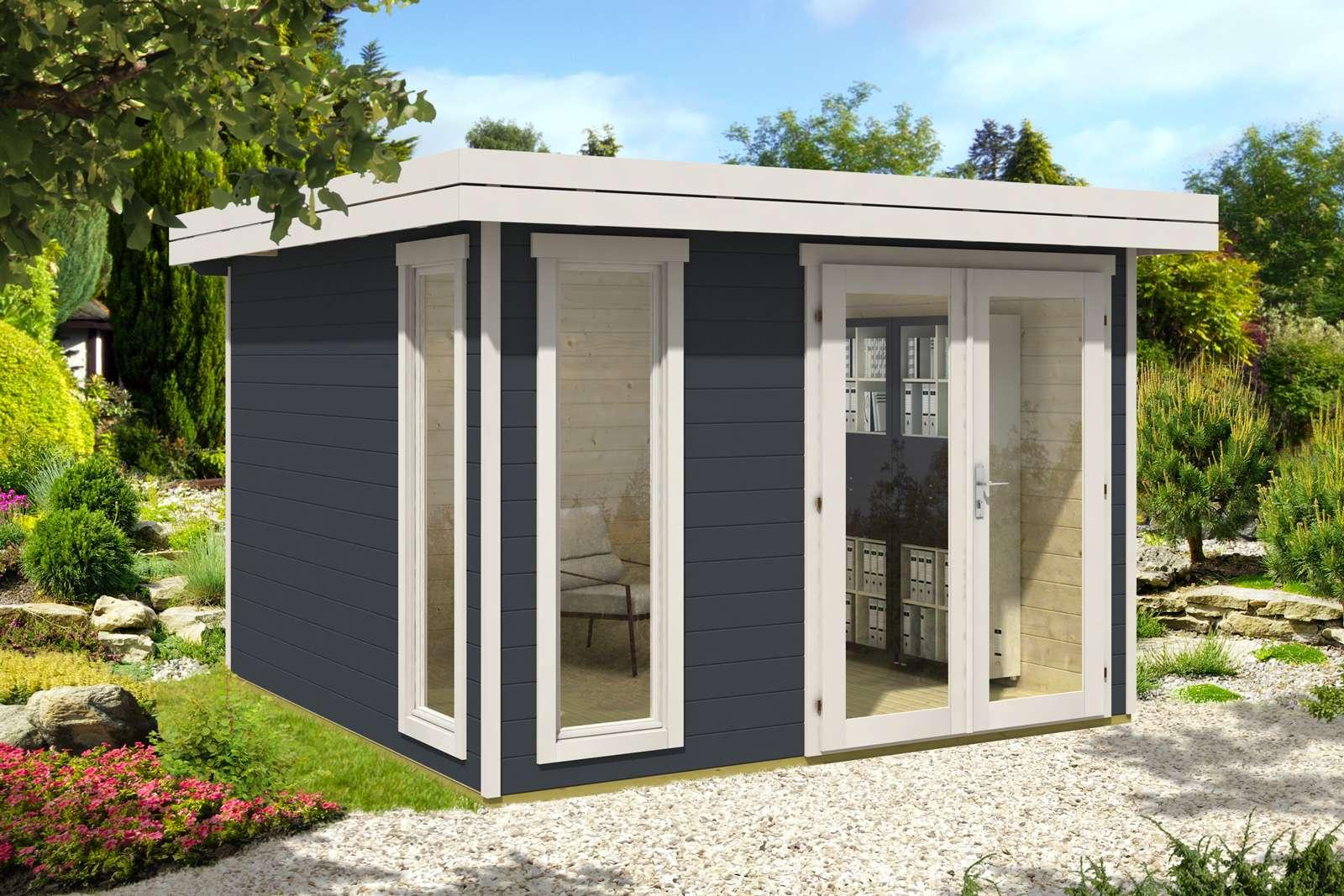 gartenhaus modern in grau-weiß mit gabionen - aufbaustory