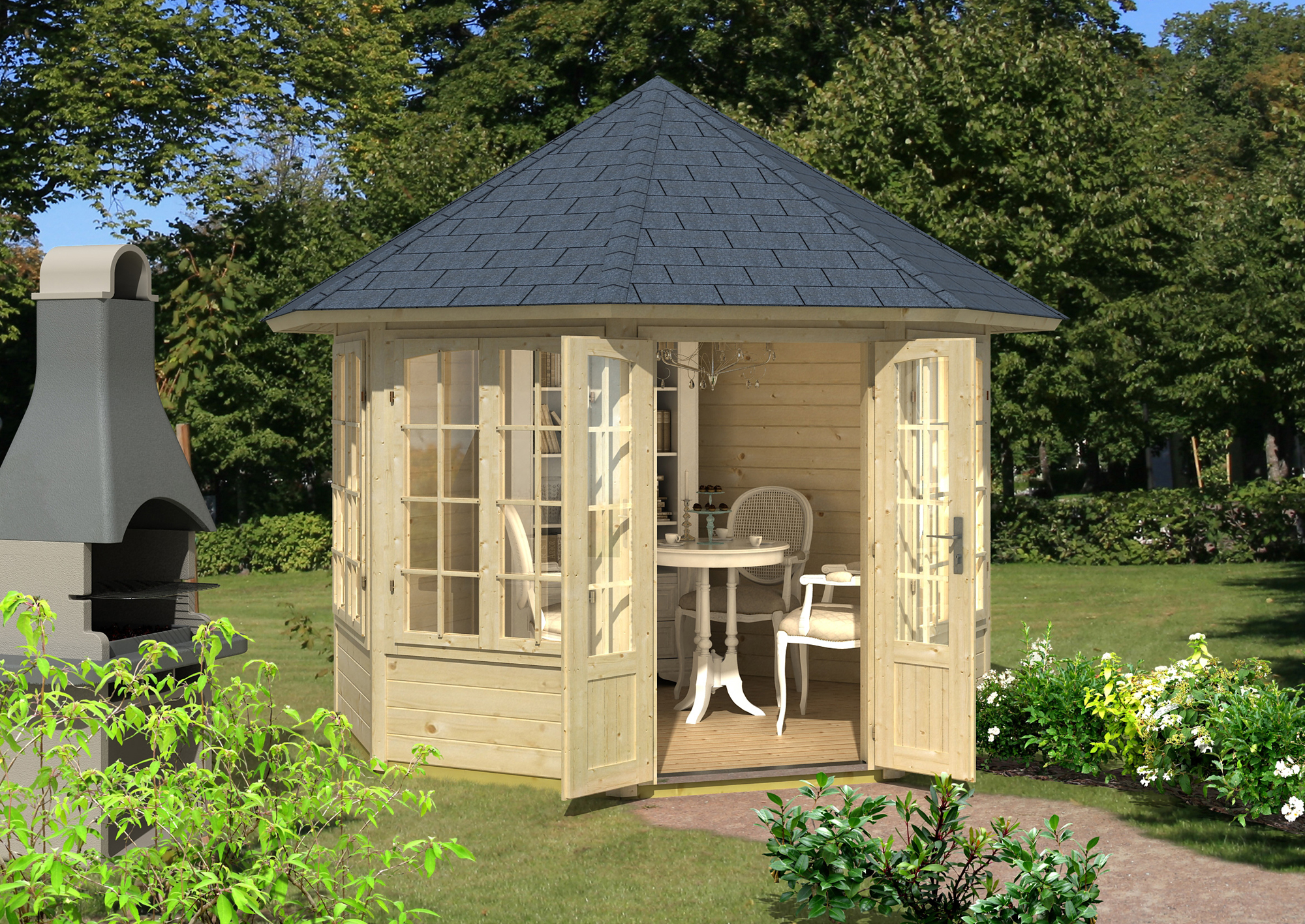 gartenpavillon modell louise 40 mit vier fenstern 122420. Black Bedroom Furniture Sets. Home Design Ideas