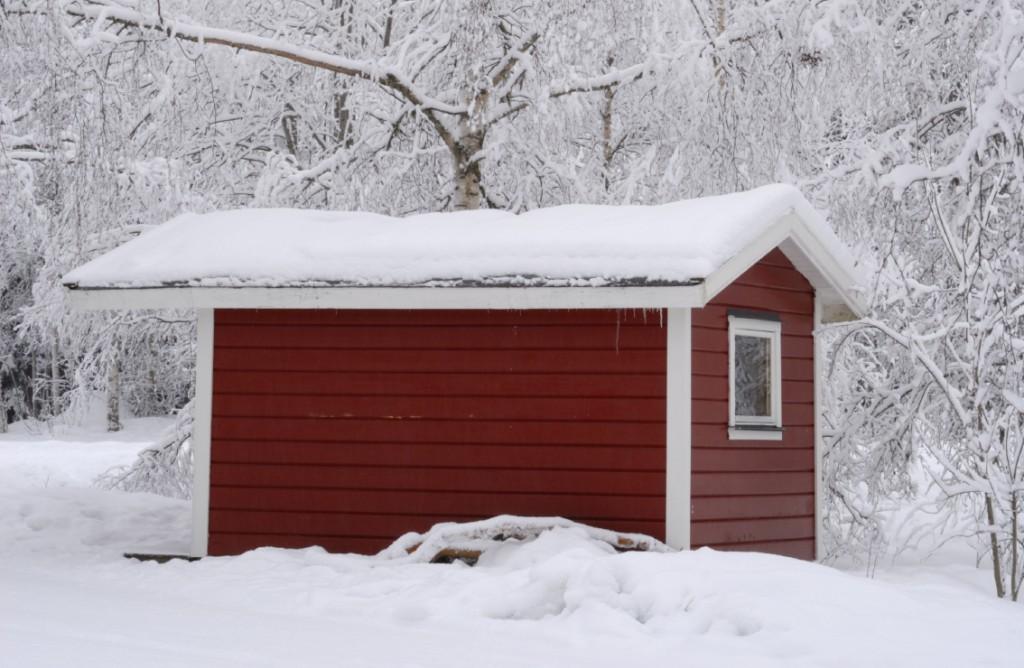 Gartenhaus Winter Schnee