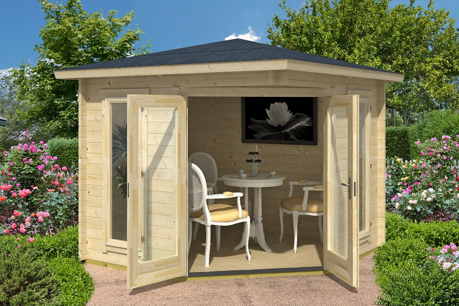 lasita maja 5 eck gartenhaus oban 40 iso 408940. Black Bedroom Furniture Sets. Home Design Ideas