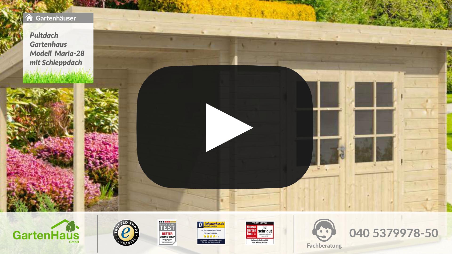 pultdach gartenhaus modell maria iso mit schleppdach. Black Bedroom Furniture Sets. Home Design Ideas