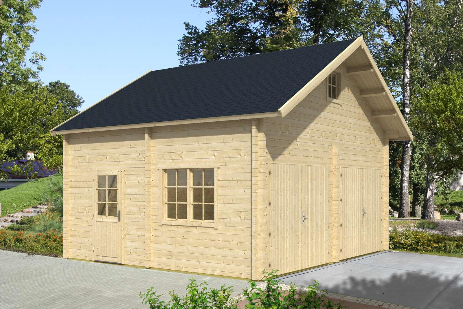 Doppelgarage pultdach  Fertiggaragen aus Holz kaufen: Holzfertiggaragen bis zu -20%