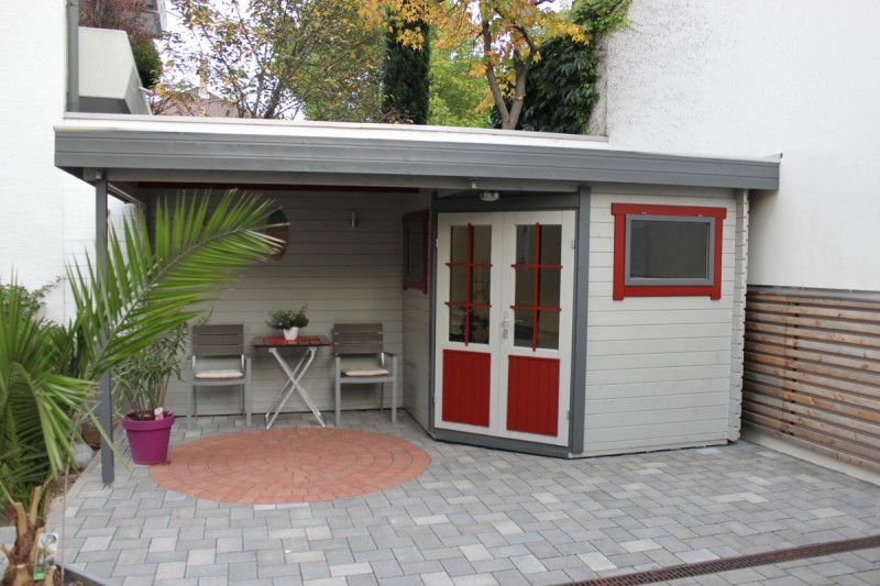 5 eck gartenhaus modell mosel 28 mit flachdach. Black Bedroom Furniture Sets. Home Design Ideas