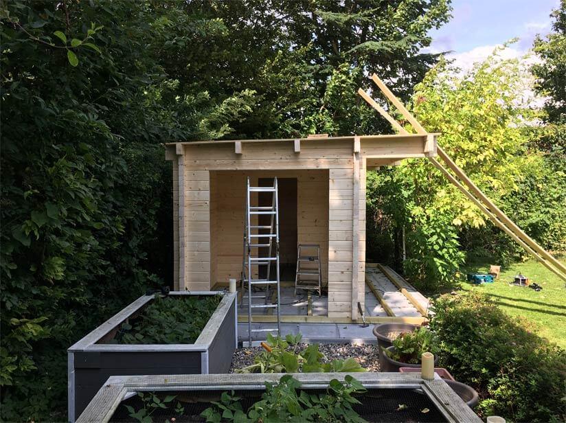 Saunahaus Aufbau Dach