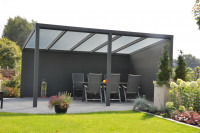 Feste Wand, Höhe 197 cm, bestehend aus 13 Aluminium Planken 400 cm
