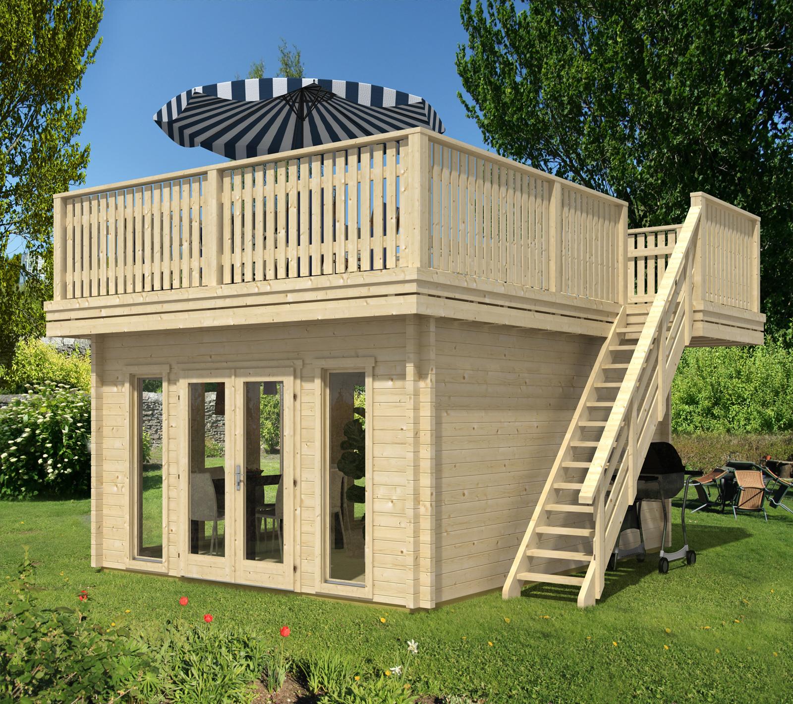 Wohnzimmer und Kamin gartenhäuser aus metall : Terrassendachhaus-70