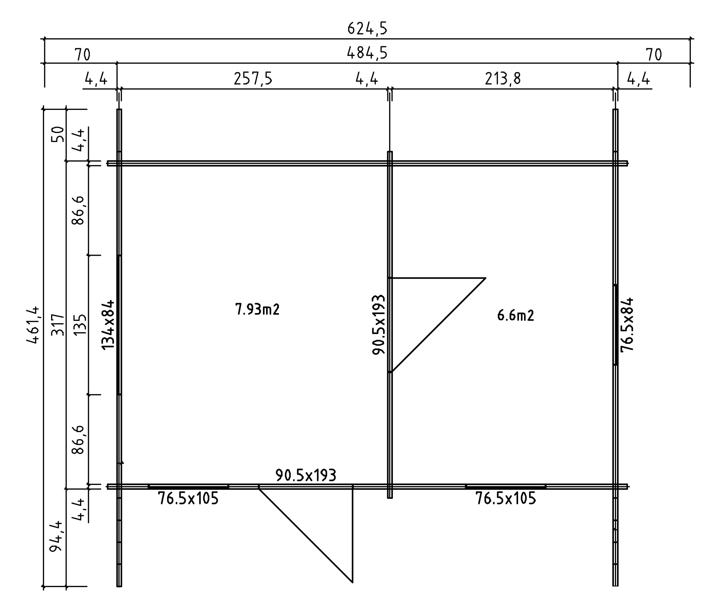 2 raum gartenhaus susanna 44 holz 40 mm 502x335 cm. Black Bedroom Furniture Sets. Home Design Ideas