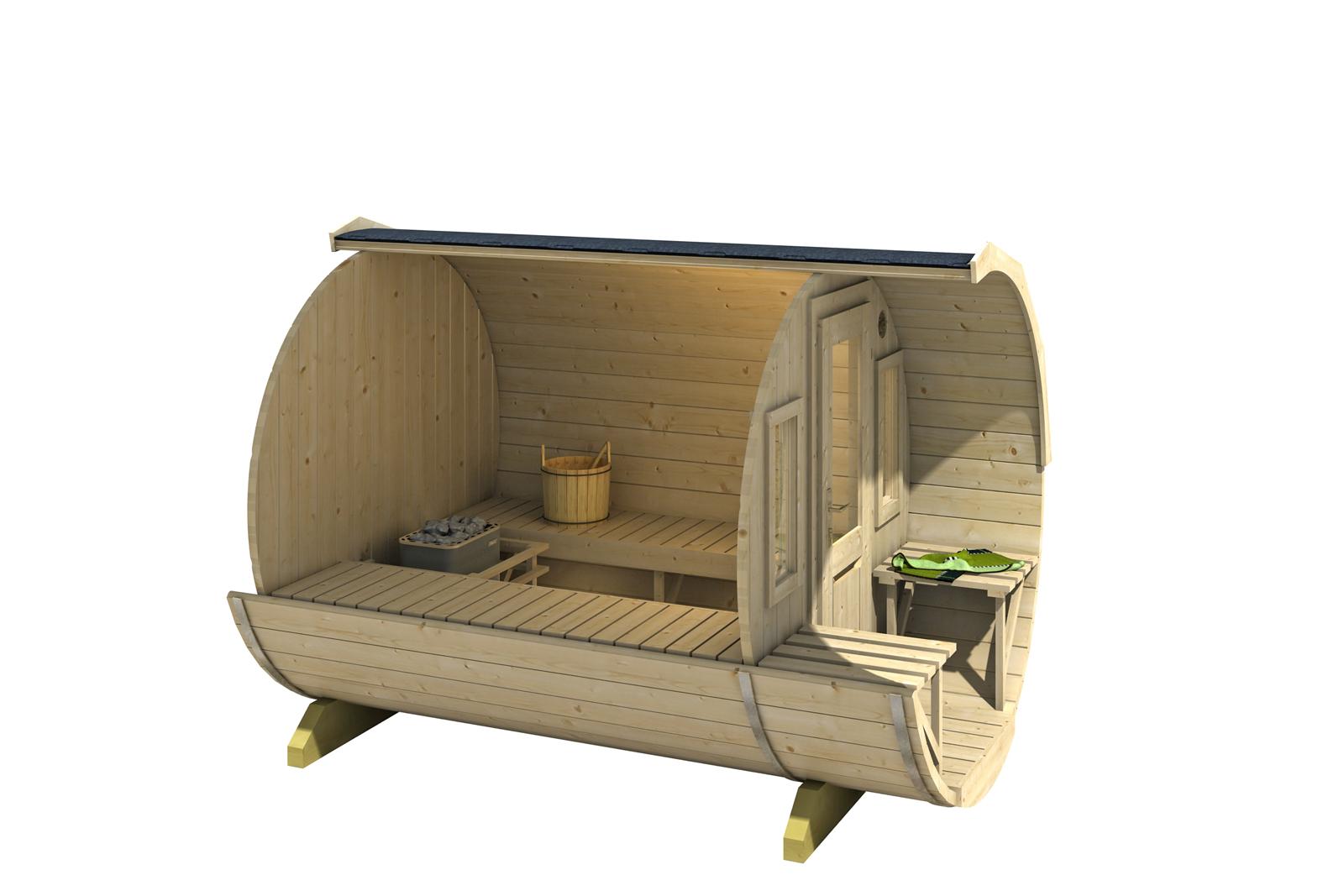 b ware finntherm fass sauna sam thermoholz vormontiert. Black Bedroom Furniture Sets. Home Design Ideas