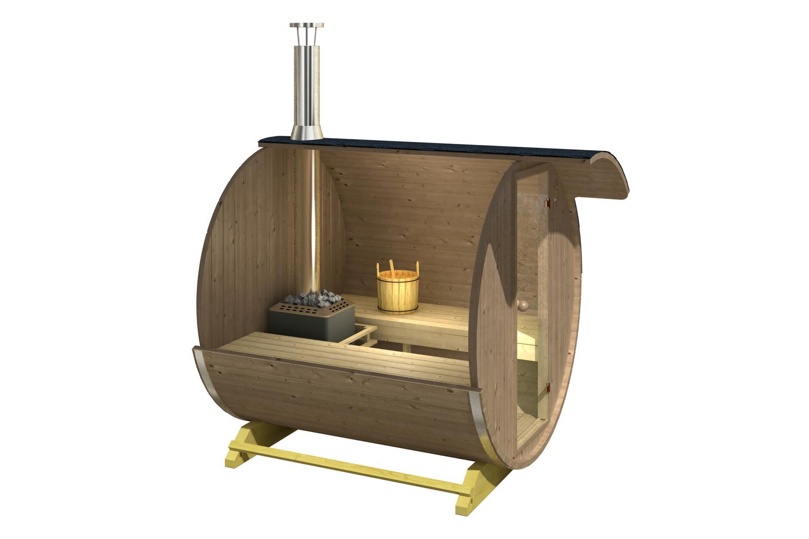 thermoholz fass sauna jonas mit harvia holz ofen