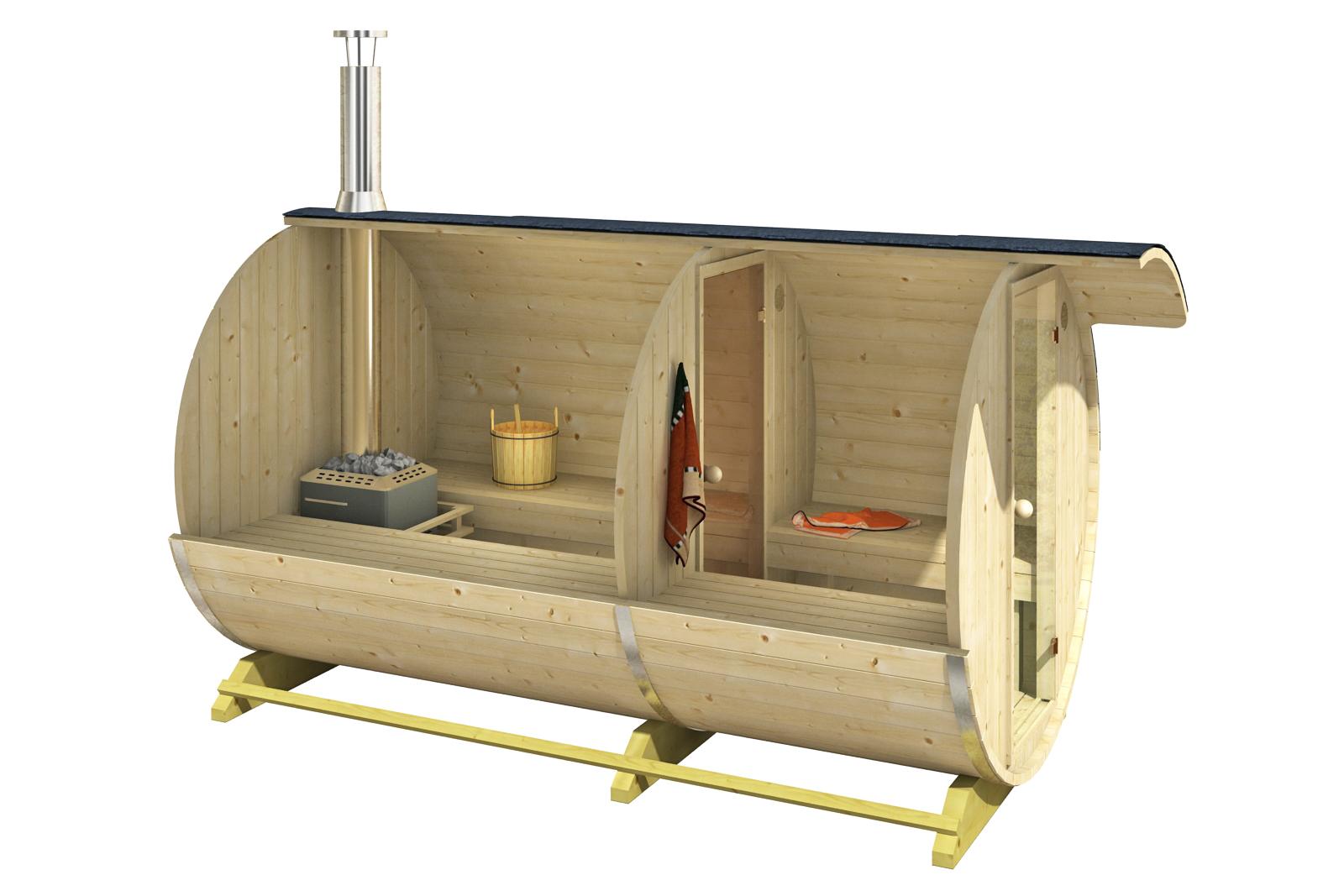 thermoholz 2 raum fass sauna leo mit harvia holz ofen. Black Bedroom Furniture Sets. Home Design Ideas