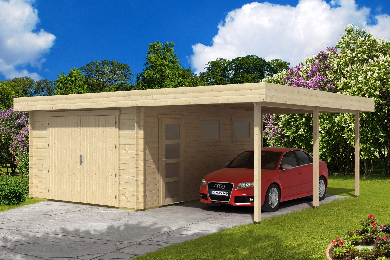 flachdach holzgarage mit carport 44 iso holzgarage mit carport 44 iso. Black Bedroom Furniture Sets. Home Design Ideas