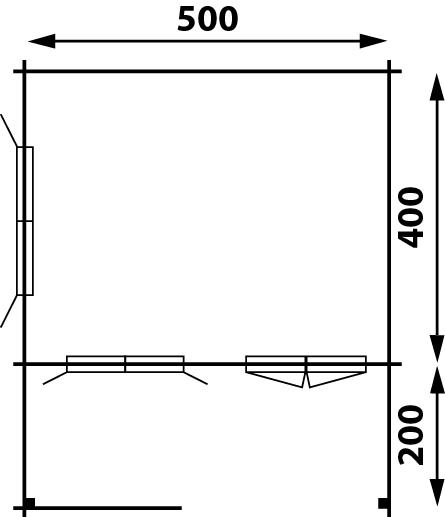 gartenhaus modell flex 50 d mit 200cm terrasse 5x4 2. Black Bedroom Furniture Sets. Home Design Ideas