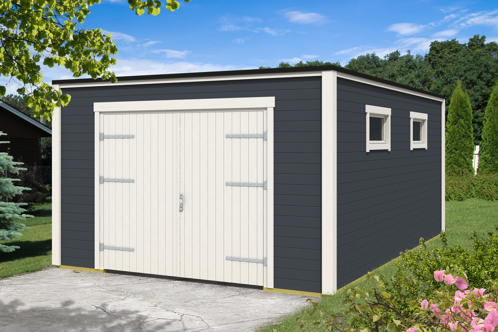 holzgarage modell cubus 40 mit 2 flg holztor. Black Bedroom Furniture Sets. Home Design Ideas