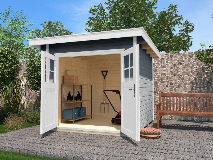 Mh gartenhaus 240 x 209 cm for Gartenhaus flachdach grau