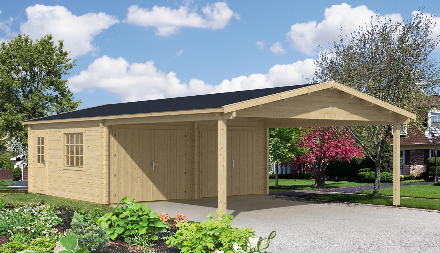 doppelgarage mit carport modell falun 44 iso. Black Bedroom Furniture Sets. Home Design Ideas