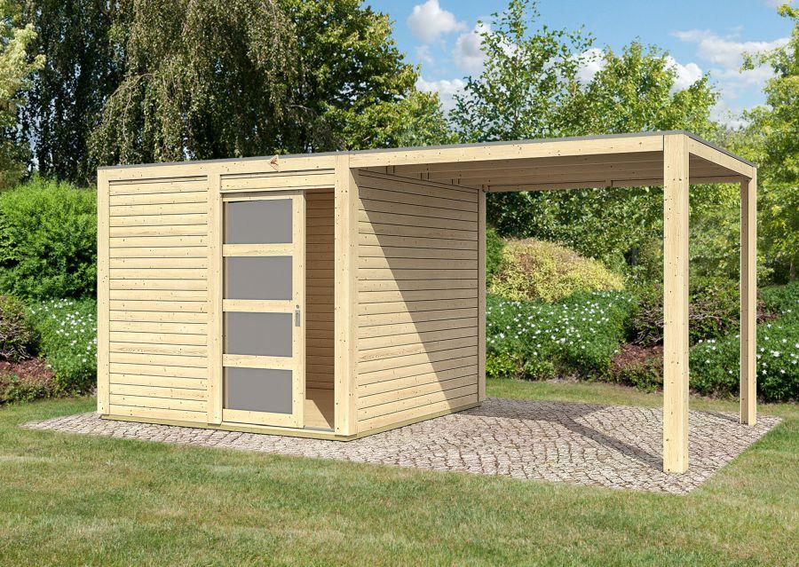 karibu gartenhaus cubini anbaudach. Black Bedroom Furniture Sets. Home Design Ideas