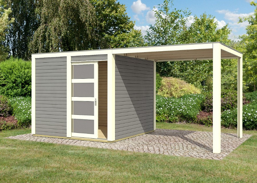 karibu gartenhaus cubini mit schleppdach. Black Bedroom Furniture Sets. Home Design Ideas