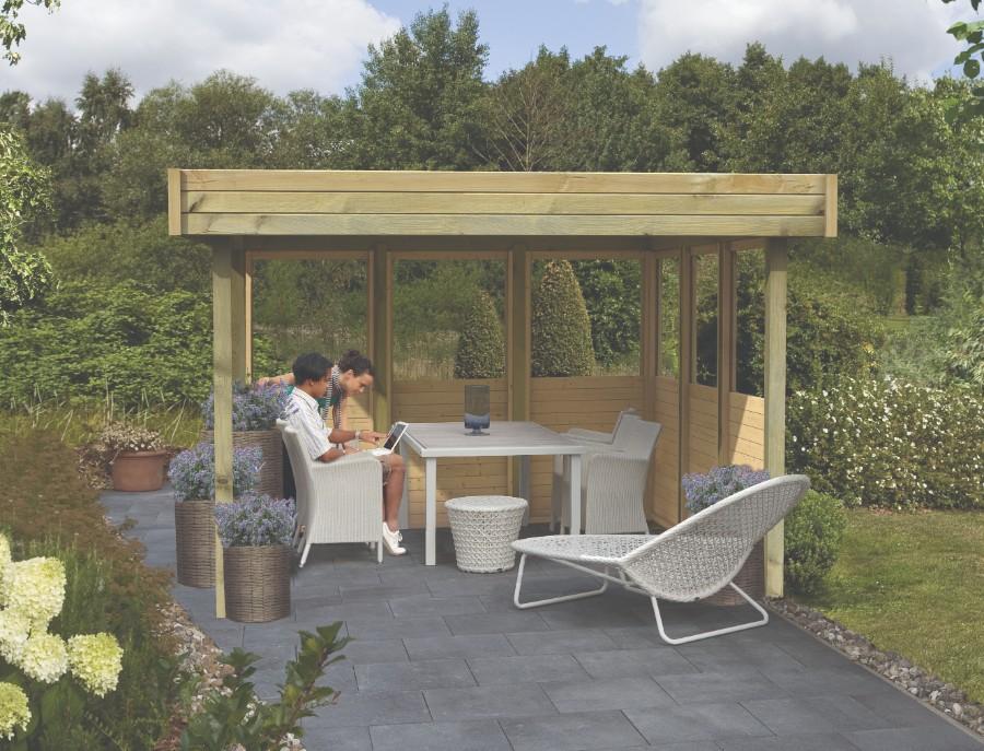 karibu flachdach pavillon 2. Black Bedroom Furniture Sets. Home Design Ideas