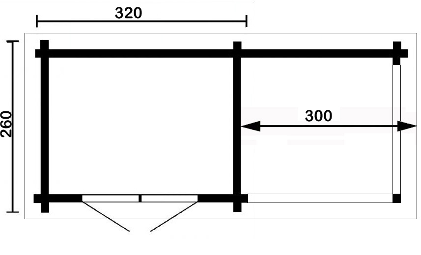 flachdach gartenhaus modern b mit seitendach 122202sd 2. Black Bedroom Furniture Sets. Home Design Ideas