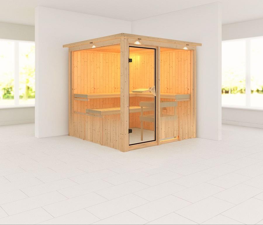 karibu sauna innenkabine rodin. Black Bedroom Furniture Sets. Home Design Ideas
