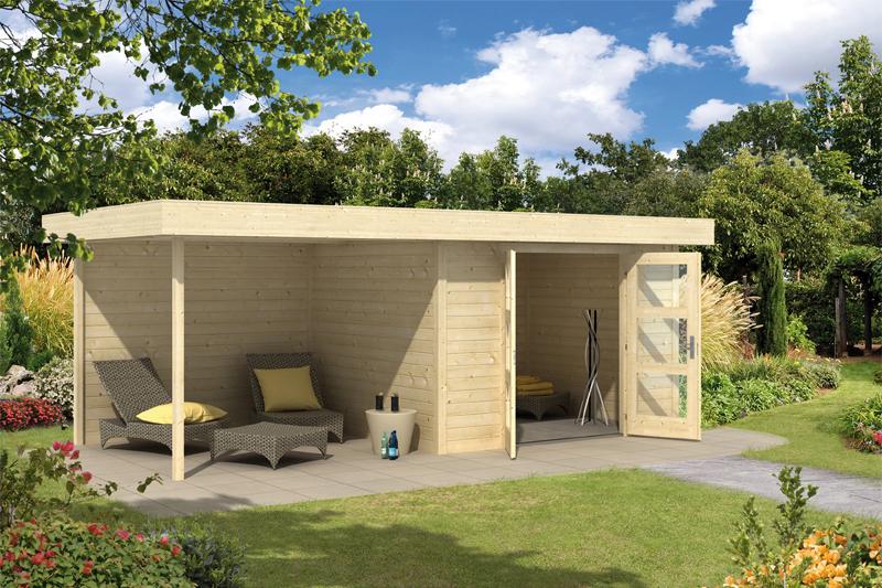 wolff flachdach gartenhaus calais mit veranda 828 130. Black Bedroom Furniture Sets. Home Design Ideas