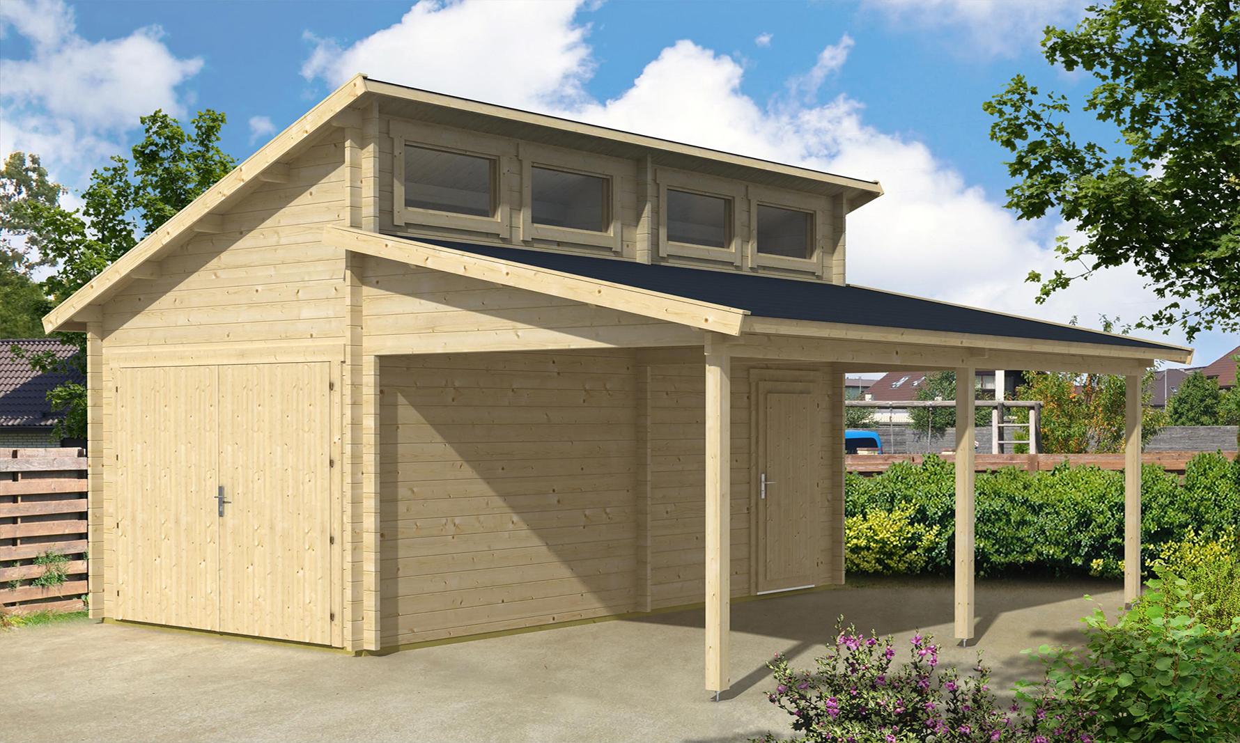 holzgarage v stervik mit carport 44. Black Bedroom Furniture Sets. Home Design Ideas