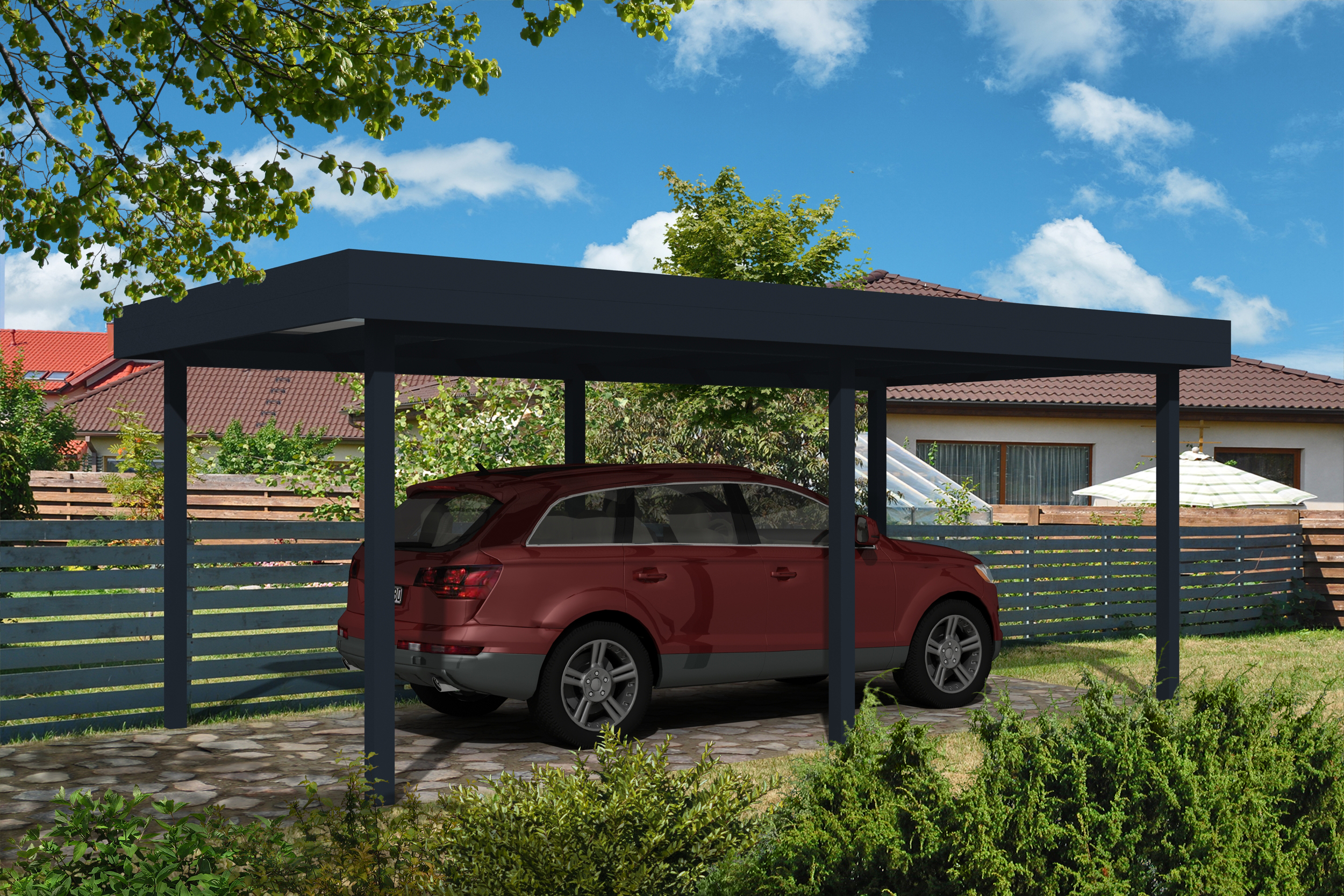 carport flachdach 300 x 700 cm. Black Bedroom Furniture Sets. Home Design Ideas